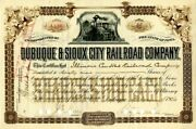 Dubuque And Sioux City Railroad Company Signed By Stuyvesant Fish - Stock Certif