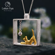 Handmade Real 925 Sterling Silver Cat Play Ball Square Pendant For Women Jewelry