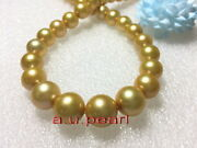 Aaaaa 1813-16mm Natural Real South Sea Yellow Golden Pearl Necklace 14k Gold