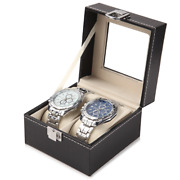 40x Watch Stand Case Luxury Box 2 Grids Holder Glass Top Watches Organiser Boxes