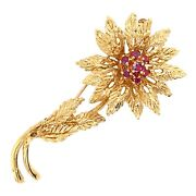 Brooch 14k Yellow Gold Flower With Pink Sapphires Pin - Vintage Estate Jewelry
