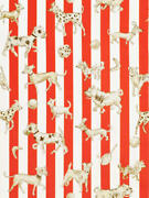 Clarence House Dogs Dice Stripes Toile Fabric 10 Yards Cherry
