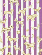 Clarence House Dogs Dice Stripes Toile Fabric 10 Yards Lilac