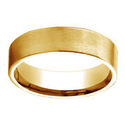 14k Solid Yellow Gold 6mm Comfort Fit Satin Finish Carved Design Band Ring Sz 6