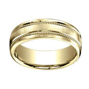 7.5mm Comfort Fit Satin Finish Rope Carved 14k Yellow Gold Band Ring Sz 5