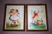2 1953 Vtg Hummel Figurines Oil Painting Signed Jean Jivery Wall Art