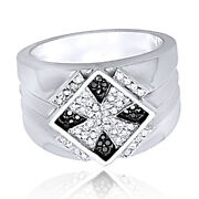 Mens 3/8 Ct. T.w. White And Color-enhanced Black Diamond Sterling Silver Ring