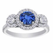 2.47 Ct Blue Sapphire And Simulated 18k White Gold Three-stone Engagement Ring