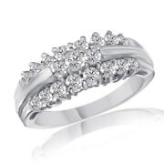 1 1/2 Ct Round Simulated Diamond In Solid 10k White Gold Flower Engagement Ring