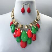 Red Green Color Christmas Holiday Xmas Style Teardrop Charms Necklace Earrings
