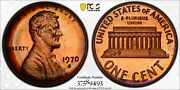 1970-s Usa Lincoln Memorial Cent Large Date Pcgs Pr65rb Gem Rainbow Color Toned