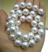 Big Aaaaa 1713-15mm Round Real Natural South Sea White Pearl Necklace 14k Gold