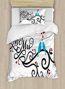 Ambesonne Wedding Duvet Cover Set, Mr. And Mrs. Swirled Branches With Red Hearts