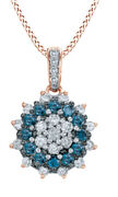 1/2 Ct Round Cut White Natural Diamond 10k Rose Gold Cluster Pendant Necklace