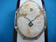 Large 14k White Gold Antique Hand Carved Cameo Brooch Pin Pendant With Diamonds