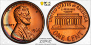 1966 Sms Lincoln Memorial Cent Pcgs Sp66rd Sharp Rainbow Crescent Color Toned