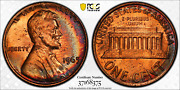 1965 Sms Lincoln Memorial Cent Pcgs Sp64rd Crescent Rainbow Color Toned