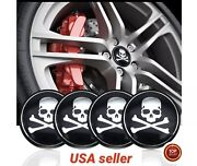 56mm 4pcs Skull Wheel Rim Center Hub Cap Decal Cover Emblem Car Sticker Blk Bone