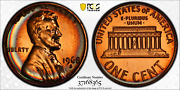 1968-s Lincoln Memorial Cent Pcgs Pr67rd Monster Target Toned Rainbow Color