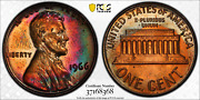 1966 Sms Lincoln Memorial Cent Pcgs Sp65rb Crescent Moon Toned Rainbow Colors