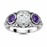 1.17 Carat Natural Si Diamond And Amethyst Antique 14k White Gold Three Stone Ring