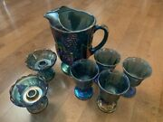 Carnival Glass - Iridescent Blue Pitcher, Goblets, And Candlestick Holder