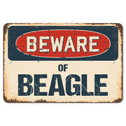 Beware Of Beagle Rustic Sign Signmission Classic Rust Wall Plaque Decoration