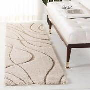Florida Shag Collection Sg471-1113 Cream And Beige 2and0393 X 4and039 Area Rug