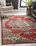 Traditional Medallion Vintage Warm Tones Burgundy Area Rug 2and039 2 X 3and039 0