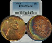 1953-d Lincoln Wheat Penny Pcgs Ms63rb Beautiful Rainbow Color Toned Gem