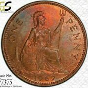 1967 Great Britain One 1 Penny Pcgs Ms63rb Beautiful Multi Color Toned Low Pop