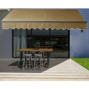 Aleko Black Frame Retractable Home Patio Canopy Awning 10 X 8 Ft Sand