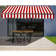 Aleko Black Frame Retractable Home Patio Canopy Awning 10 X 8 Ft Red/white