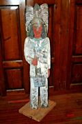 Vintage 60 Tall Hand Carved And Painted Wood Cigar Pipe Store Indian Sculpture