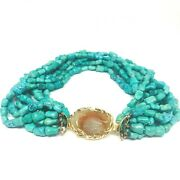 Vintage Turquoise Carved Jade Yellow Gold Bead Necklace