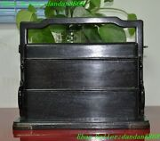 Old Chinese Palace Rosewood Wood Pure Hand Carved Statue Food Boxes Lunch Box