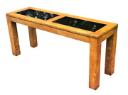 Paul Evans Signed Cityscape Burled Wood Console Table With Glass Inserts