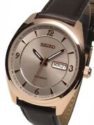 Seiko Menand039s And039recraft Seriesand039 Japanese Automatic Gold And Brown Leather Snkn72