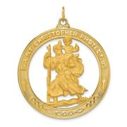Menand039s 14k Yellow Gold Saint Christopher Medal Pendant 29mm 1 1/8 In