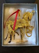 Wallace 24k Goldplate Etched Carousel Ornaments New In Box Usa
