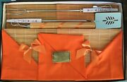 Mid Century Bbq Tool Party Set Bamboo Placemat Napkins Spatula Fork Bar-b-q Time