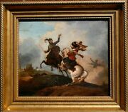 The Battle Follower Of Phillip Wouwerman 18thc Old Master Antique Painting.