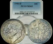1946-d Roosevelt Dimes Pcgs Ms65 Lightly Toned