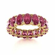 7.99ct Oval Cut Real Pink Tourmaline Eternity Wedding Band Ring 14k Yellow Gold