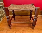 Antique American Shaker 1800and039s Cherry Woven Splint Seat Stool Bench Footstool