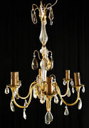 Antique French Louis Xv Polish Bronze And Glass Chandelier Solid Polished Bronze