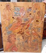 Unusual Large Maple Wood Sculpture By D. Fischel Jazz Band Musicians 1980 Rare