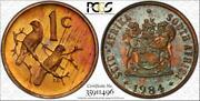 1984 1 Cent South Africa Bu Pcgs Ms65rb Pop 5 Only 2 Graded Higher Worldwide