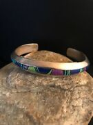Navajo Sterling Silver Turquoise Sugilite Lapis Inlay Bracelet Mens Gift T1083