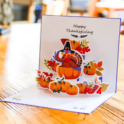 100x Happy Thanksgiving Day Cards Turkey 3d Pop Up Family Friend Greetings Card
